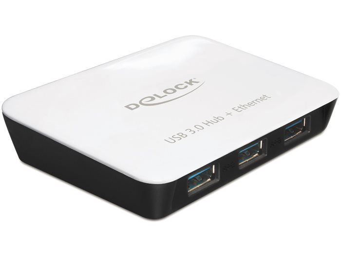 Delock USB 3.0 Hub 3 portový + 1 port Gigabit LAN 10/100/1000 Mb/s